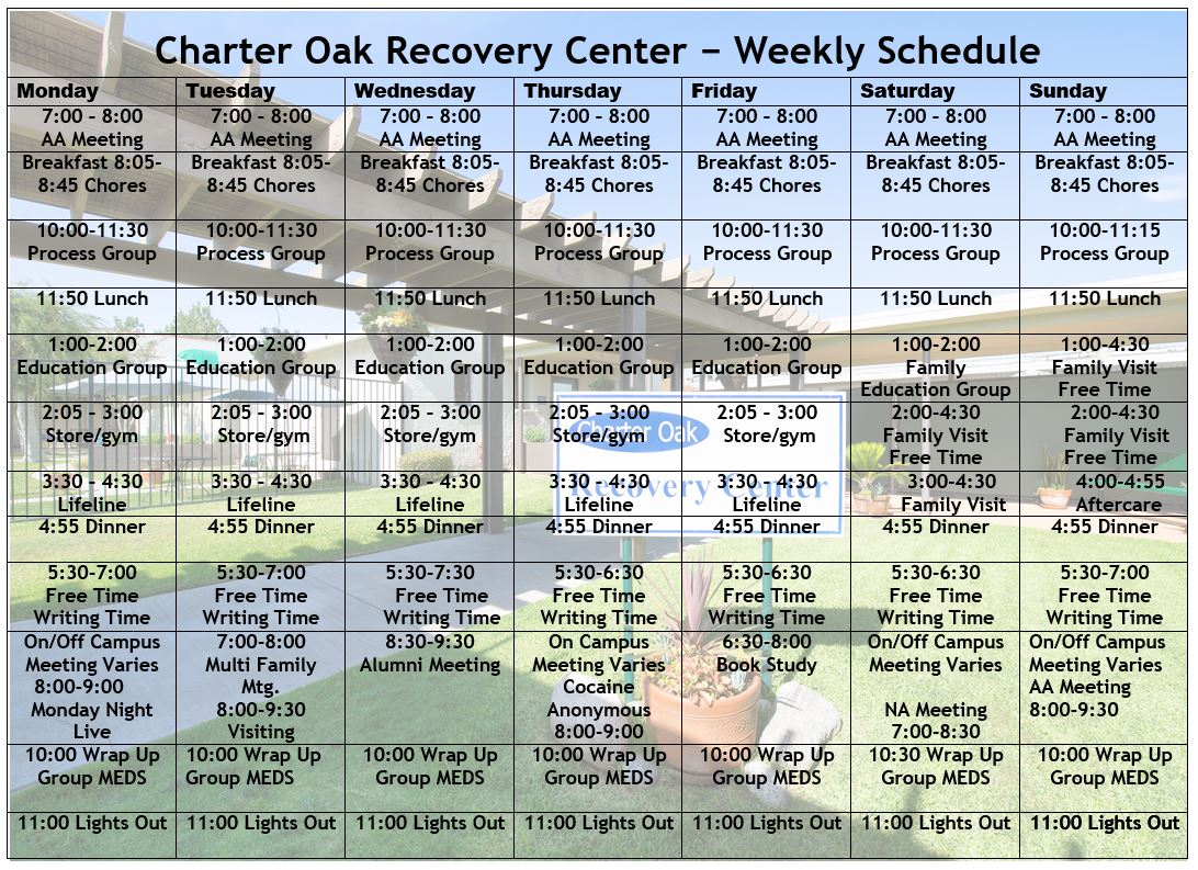 Charter Oak Recovery Center Schedule