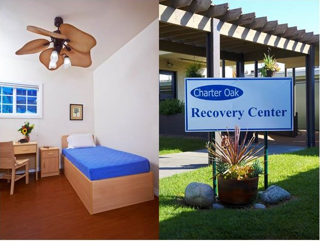 Charter Oak Recovery Center with Sign and Patient Room