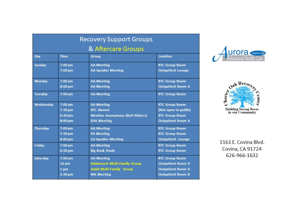 Aftercare and Support Group Schedule - Aurora Charter Oak