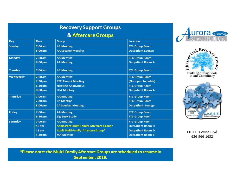 Aurora Charter Oak 12-Step Support and Aftercare Groups