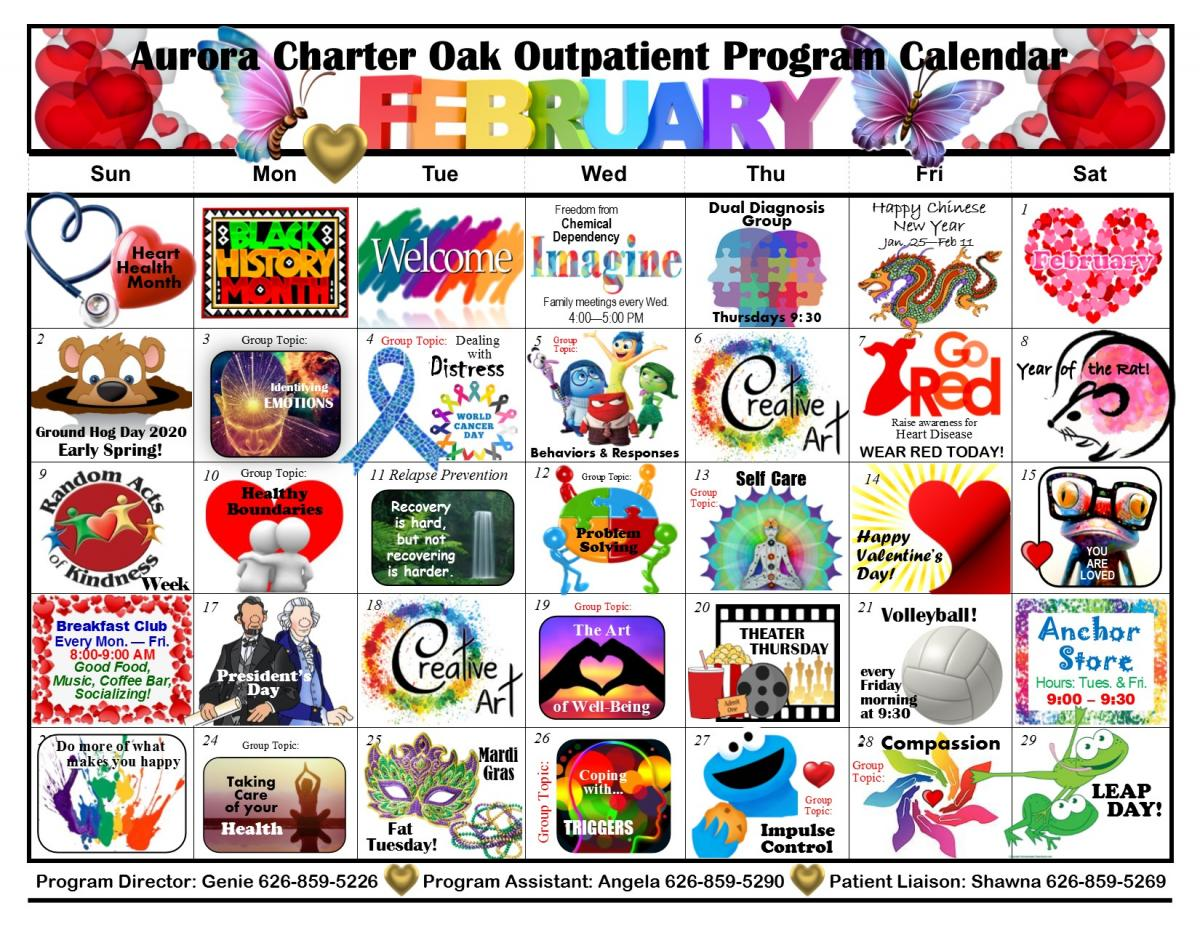 Outpatient Program Calendar - Aurora Charter Oak Hospital