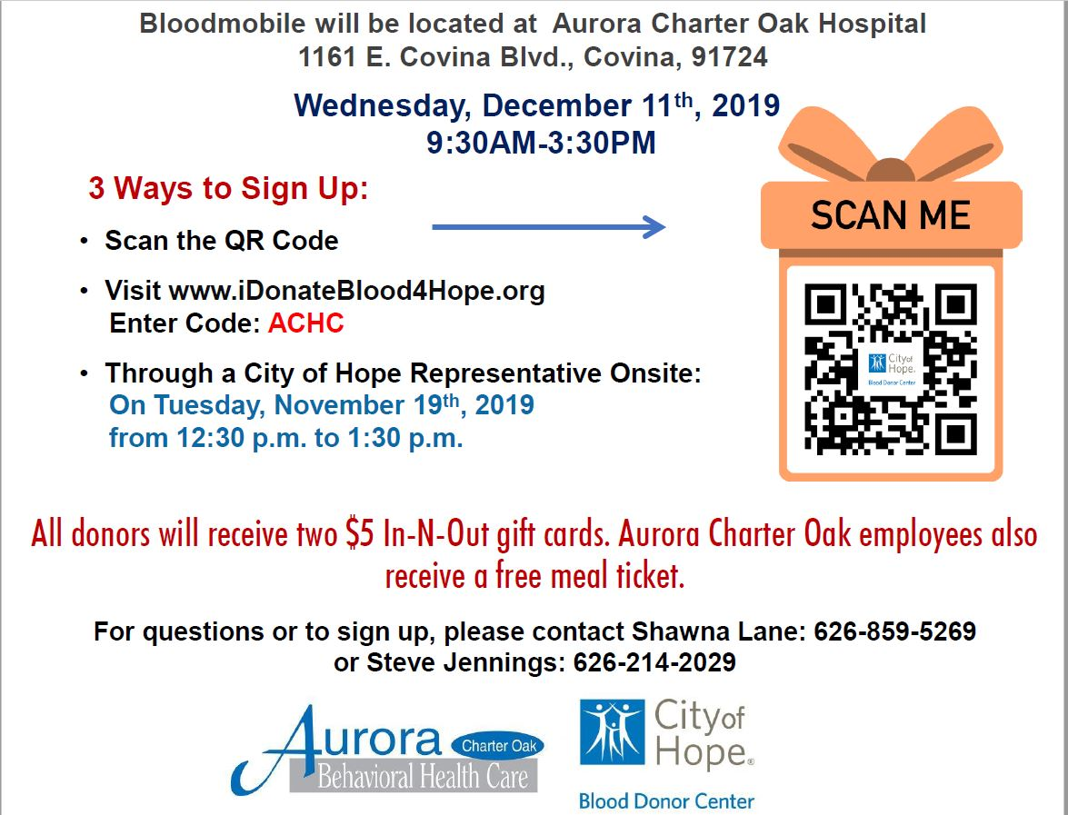 Blood Drive - Aurora Charter Oak Hospital 12/11/19